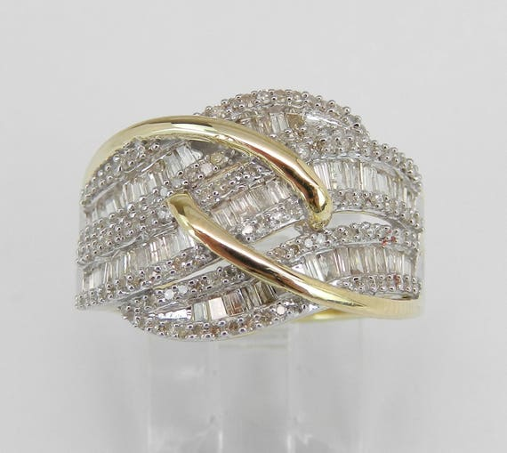 Yellow Gold 1.00 ct Diamond Crossover Anniverary Ring Wedding Band Size 7