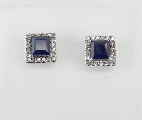 Princess Cut Sapphire and Diamond Stud Earrings Halo Studs White Gold Birthstone Earring