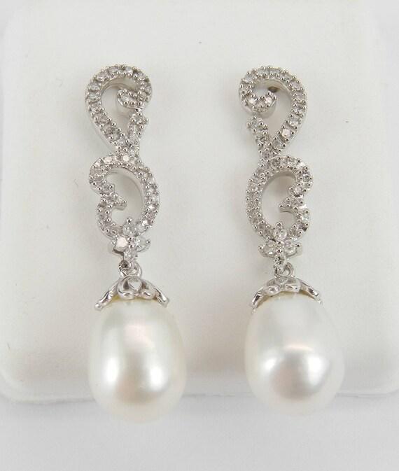 Pearl and Diamond Dangle Drop Earrings White Gold June Birthstone Wedding Gift