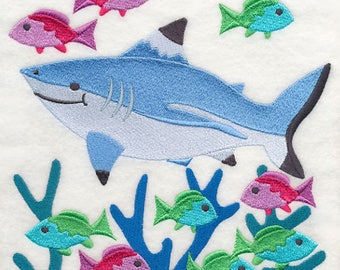 Blacktip Reef Shark and Reef Fish Embroidered on Plain Weave Cotton Tea Towel // Iron-on Patch // Kona Cotton Fabric Square