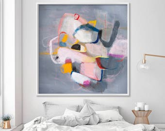 Grey Abstract Large Art Print with pink canvas Giclee Wall Art modern Geometric art by Duealberi