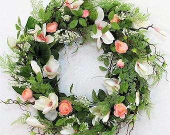 Magnolia Wreath - Floral Wreath - Summer Door Decor - Farmhouse Wreath - Fixer Upper Decor  Large Wreath - Magnolia Leaf Wreath - Front Door