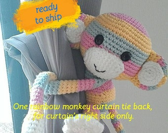 1 rainbow monkey curtain tie back, for curtain's right side.