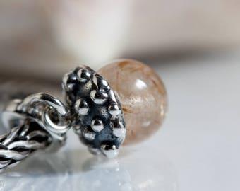 Small core  Dangle Acorn Golden Rutile Gemstone  Bead  european charm bracelet BHB sterling silver