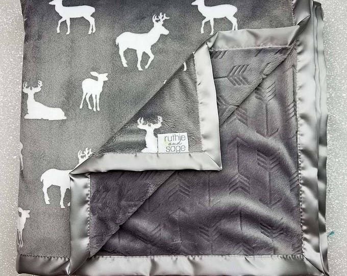 Minky Blanket, boho throw blanket, baby Blanket, baby boy, modern blanket, hipster baby, deer blanket, cow skull, Arrow minky, navy and grey