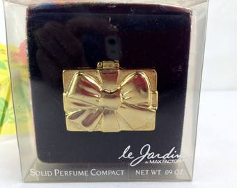 Vintage Max Factor Le Jardin Bow Present Solid Perfume Compact Full Never Used