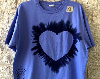 "Organic ringspun cotton ""Bodhee Cheetuh"" Yoga T-shirt: XL periwinkle"