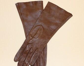 Vintage Ladies, Brown Kid Leather Gloves