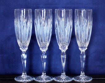 Vintage Set of 4, CRISTAL D'ARQUES / DURAND, Classic Fluted Champagne Glasses