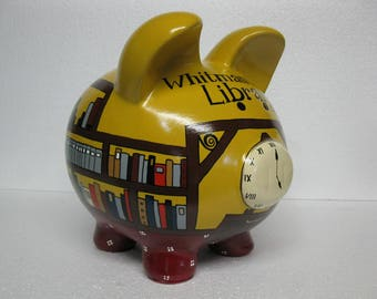 Piggy Bank, Library piggy bank, Personalized, Handpainted, Large Piggy Bank - What Book Do You Want To Read - MADE TO ORDER