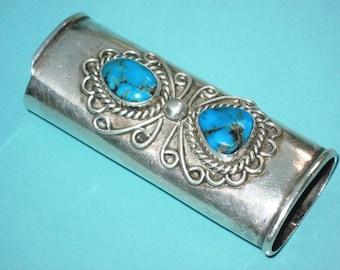 Vintage Navajo Sterling Silver 925 Turquoise Cigarette LIGHTER COVER Case