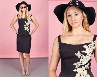 50s Black Embroidered Dress Vintage Rose Applique Cotton Cocktail Strappy Dress
