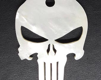 Punisher Mother of Pearl Pendant Handmade From Genuine Mother of pearl Natural Color