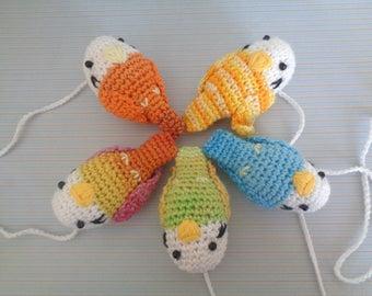 Baby mobile birds, crochet birds, set of birds, parakeet, wall hanging, baby room, decoration, bird decoration