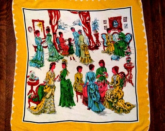 vintage 1940s Scarf Rayon Crepe Extra large Silk Screened Ladies in Parlour Scene 31 inch square