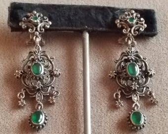Antique Sterling Silver Diamond Emerald Green Paste Chandelier Earrings