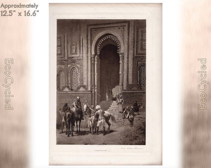 East Indian Horsemen by EL Weeks Edwin Lord Weeks Antique Photogravure Print Goupil Vintage Paper Ephemera zyxG16