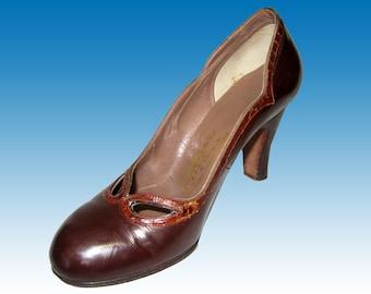 """50s LEDERER de Paris Heels 5.5 Shoes Sable Brown w Reptile Trim - 3-3/8"""" Heel Amazing Style & Constrution - ROCKABILLY"""