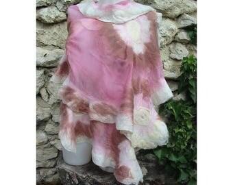 Pink Felt Shawl,European Wrap,Woman Cape,Large Soft Shawl,Pink Felt Cape,Wrap NunoFelt Cape,AU Wool Felt Cape,Nuno Felt Cape,Handmade