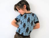 Boys t shirt top black blue bear scandinavian print fitted retro tee cotton baby vest soft toddler green funky kids babies kids t-shirt