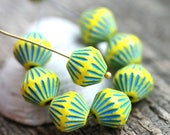 ON SALE 11mm Large bicones, Yellow with Blue stripes, czech Glass Fire polished beads, large tribal bicone beads - 8pc - 0191