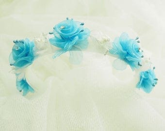 Organza Aqua Flower Head Band
