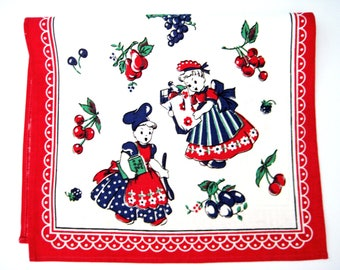 Vintage Tea Towel Broderie Creations, Two Girl Chefs, Cherries Plums Grapes, Red Blue Green, Excellent