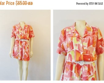 SALE Vintage Dress 80s Shortened Mini Shirtwaist Vintage Dress Coral Red Pink Yellow Abstract Print Belted Size Medium to Large