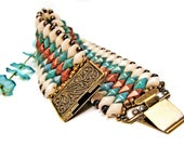 Southwestern Dazzling Diamond Duo Beaded Bracelet, turquoise bracelet, ivory bracelet, copper bracelet, etsy handmade, dazzling bracelet