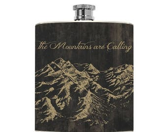 Mens Flask Mountain Flask Best Affordable Birthday The Mountains are Calling Groomsmen Wedding Wanderlust Outdoorsman Groom Gift Bridal