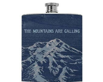 Mountain Gifts Mens Drinking Flask Mountain Womens Liquor Personalized Groomsmen Gift Wanderlust Guys Birthday The mountains are calling