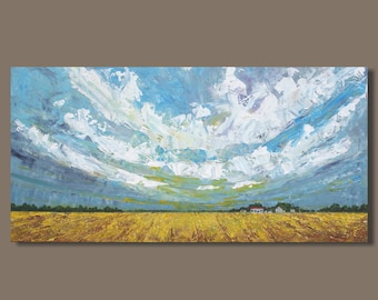 abstract painting, field painting, farm fields, panoramic painting, prairie painting, small landscape painting, small art, gift, wall art