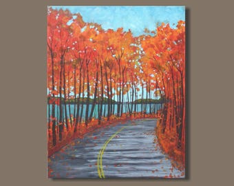 Fall Collection 2017 - landscape painting, fall colors, trees, autumn landscape, fall painting, orange red turquoise blue, impressionism
