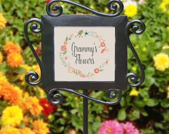 Personalized Any Message Floral Wreath Garden Stake, Custom Garden Marker, Memorial, Garden Gift