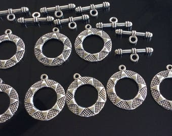 8PCS Antique Silver Plated Decorative Toggle Clasps