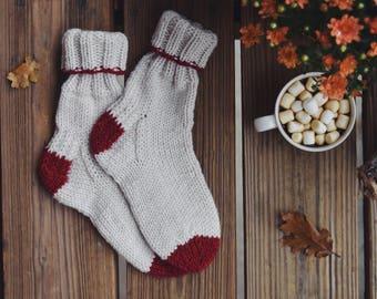 Cozy Knit Boot Socks, Chunky Knit Socks / Red & White Knitted Booties Socks / Fall Fashion Knit Socks