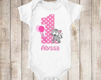 ON SALE 1st Birthday Pink Kitty Cat Personalized Birthday Shirt - ANY Age