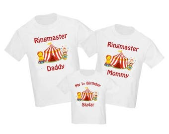 ON SALE Set of 3 Circus Carnival Birthday Family Shirts Set - ANY Age
