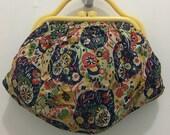 Cutest Vintage Fabric Purse with Bakelite Handle