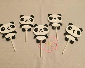 Cute Panda Cupcake Toppers Set of 12
