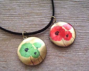 Poppy Locket Choker Necklace, Blue or Red Poppy Locket, Floral Brass Art Locket Necklace, Boho Jewelry, Round Floral Locket Pendant