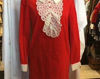Vintage Summer Sale Retro darling burnt sienna 1960 shift dress with Peter Pan collar