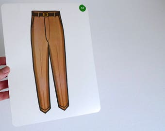 Large Vintage Flash Card of Brown Trousers - 1965 Peabody Language Development