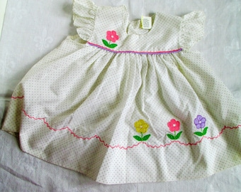Vintage Adorable Dress Toddler White With  Grey Poke a Dots Embrodered  Flowers Size 12 mos Vintage Baby Or Doll Clothes