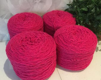 Yarn Recycled Rayon Wool Angora Blend Sport Weight 4 Cakes 1080 Yards 10.8 oz Lot 646