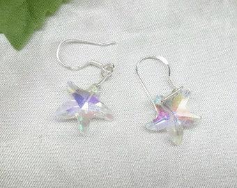 Starfish Earrings Crystal Earrings Dangle Earrings Nautical Earrings Beach Jewelry 925 Sterling Silver Earrings BuyAny3+Get1 Free
