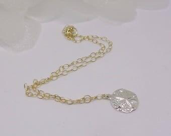 14kt Gold Sandollar Bracelet Beach Bracelet 14k Gold Sand Dollar Bracelet Solid 14kt Gold Bracelet Silver Sandollar Bracelet Buyany3+1Free