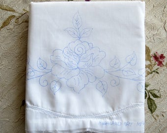 Pillowcase, Stamped Pillowcases To Embroider, Un-hemmed, Rose Pillowcases,  Needlework Pillows