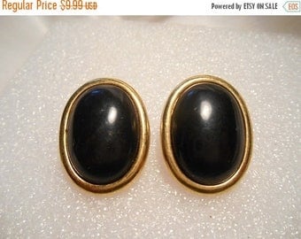 50% Off Sale Monet Retro Vintage Oval Black Cabochons Set on Gold Tone Pierced Earrings