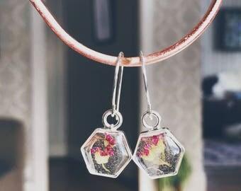 Pressed flower hexagon silver pendant earrings